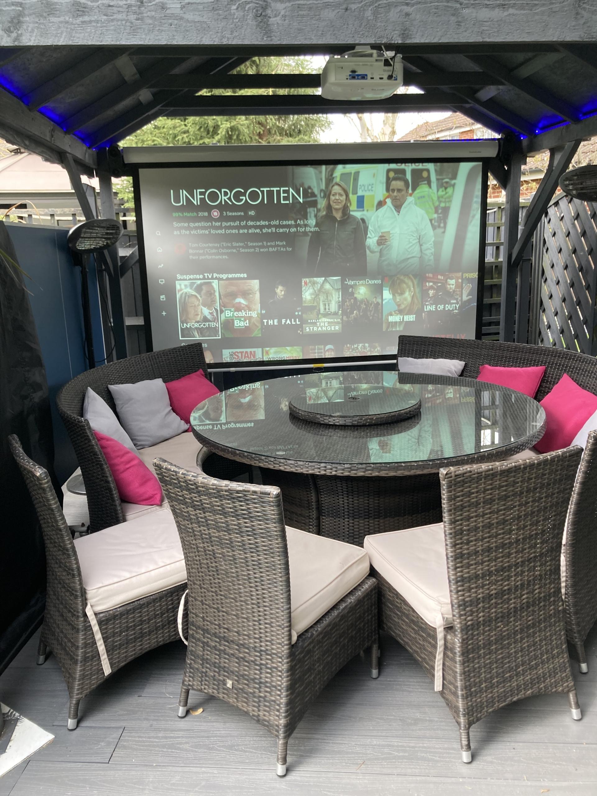 outdoor cinema screen in daylight